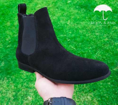 Chelsea boots negro gamuza moon & rain botines / botín
