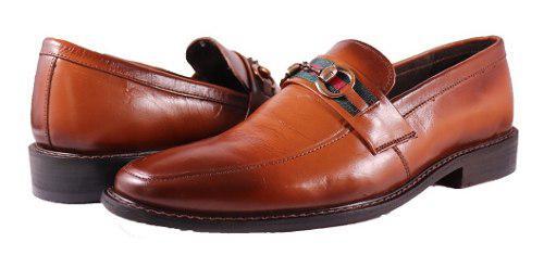 Mocasines piel suela cuero tipo gucci zapatos vestir hombre