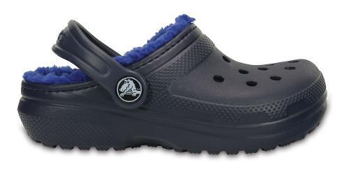 Zapato crocs niña classic lined peluche azul marino