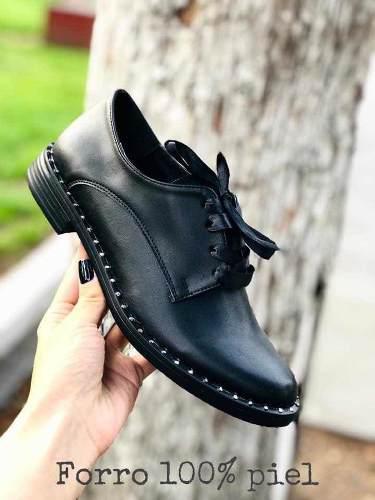 Zapatos mujer agujeta negro escolar