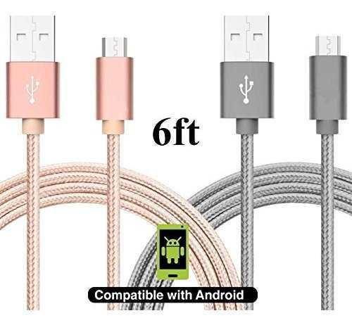 Paquete de 2] cable asstar micro usb cargador android nylon