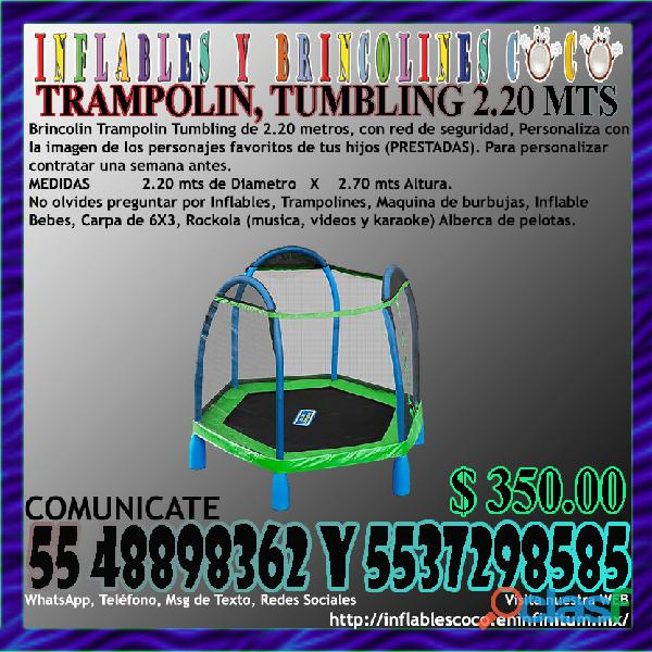 Renta juego brincolin trampolín tumbling de 2.20 metros coacalco tultitlan tultepec