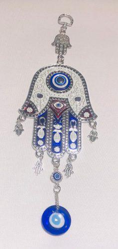 Amuleto ojo turco grande 28 cm vidrio mano fatima blanco