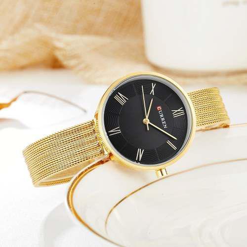 Curren moda lujo acero ouro e preto
