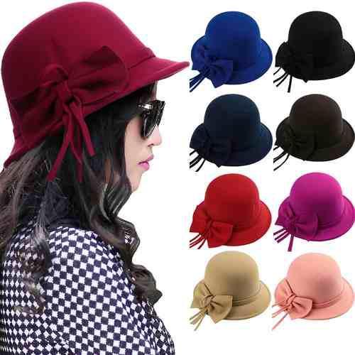 Moda mujer fedora sombrero bowknot multi