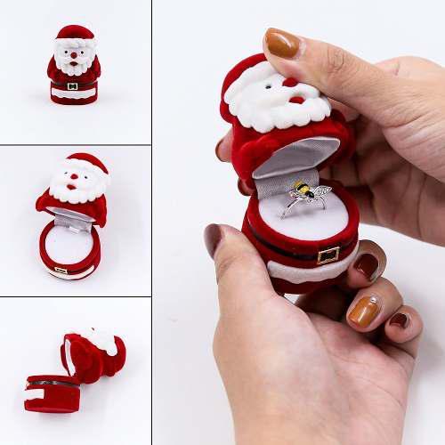 Nueva caja de joyería de papá noel regalo de navidad