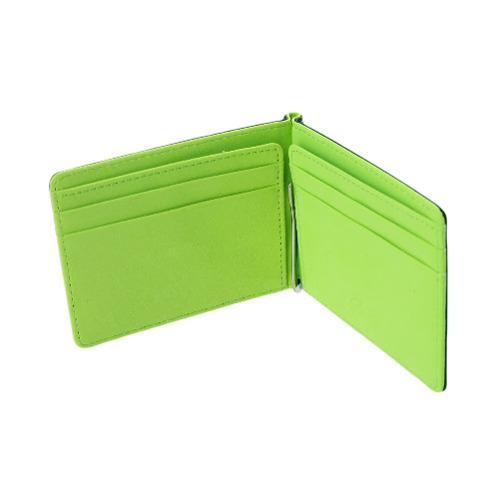 Nueva moda hombres clip cartera alta verde