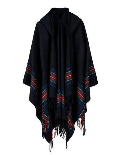 Oversize pncho mujer tejido de rayas con capucha
