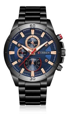 Reloj pulsera curren 2017 moderno luminoso negro y azul