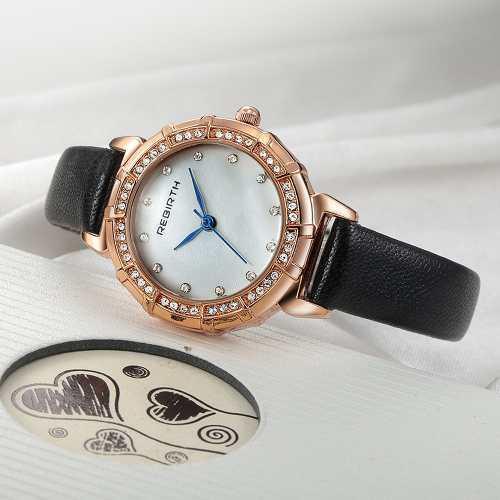 Reloj pulsera rebirth moderno de lujo para mujer negro