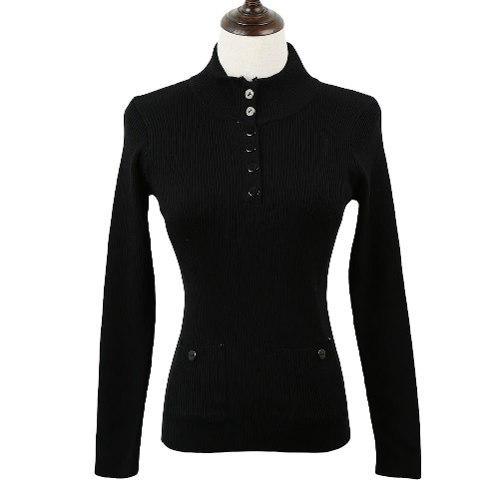 Suéter moderno con cuello solapa para mujer negro m