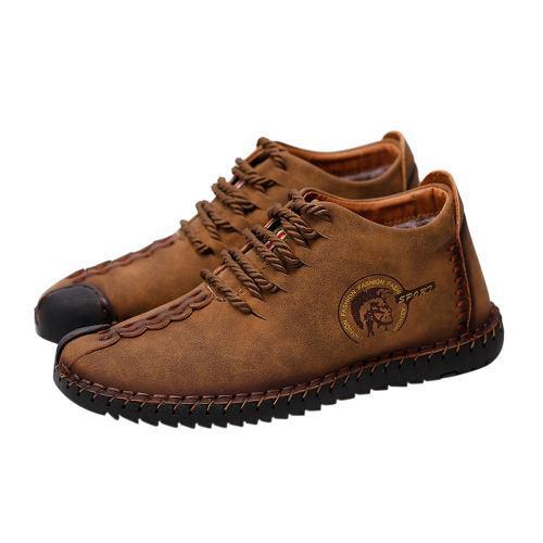 Zapatos de cuero respirables retros de terciopelo camello45