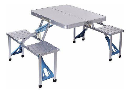 Mesa plegable 4 sillas aluminio portátil picnic