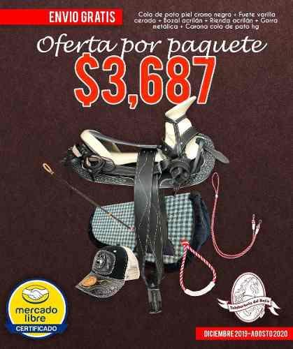 Montura silla charra cola de pato de piel paquete negro