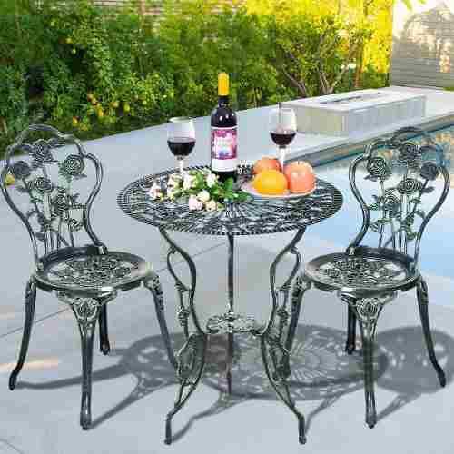 Set patio & jardin 3pz sillas y mesa de aluminio fundido