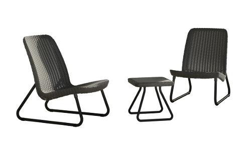 Juego de patio 1 mesa 2 sillas jardin terraza resistente