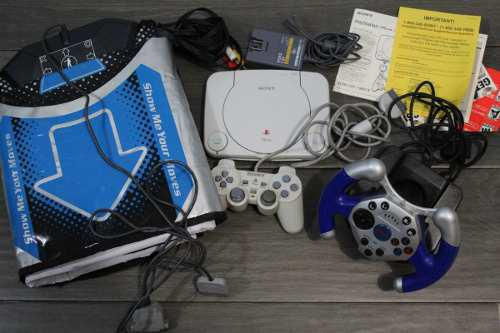 Ps one, sony play station 1 +volante+tapete de baile+juegos