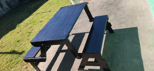 Banca transformable en mesa negra picnic fiesta jardín