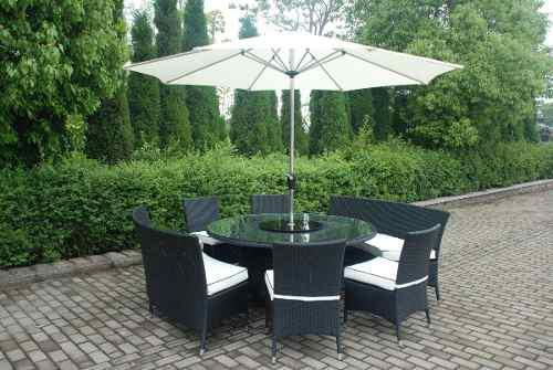 Comedor muebles exteriores, rattán y aluminio, set 7 pcs