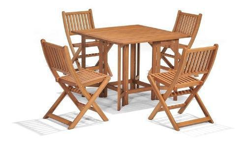 Mesa comedor 94cm y 4 sillas plegable de madera exterior