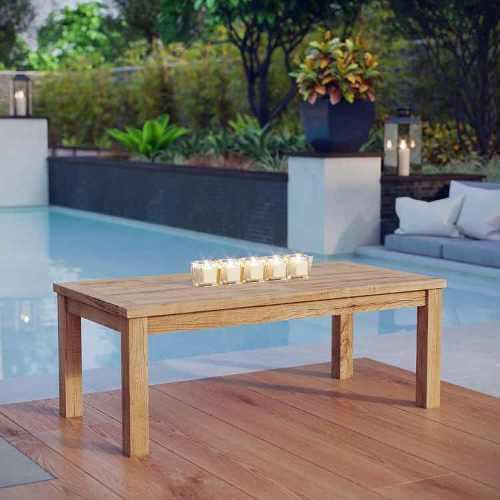 Mesa de jardín exterior madera estilo teca natural marina