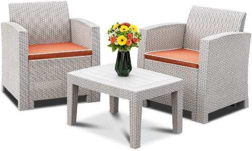 Set muebles de patio y jardin rattan 1 mesa, 2 sillon