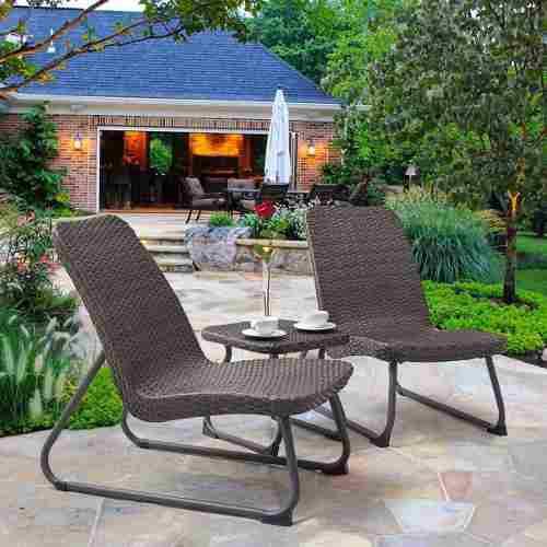 Set patio& jardin 3pz sillas y mesita de mimbre gris goplus