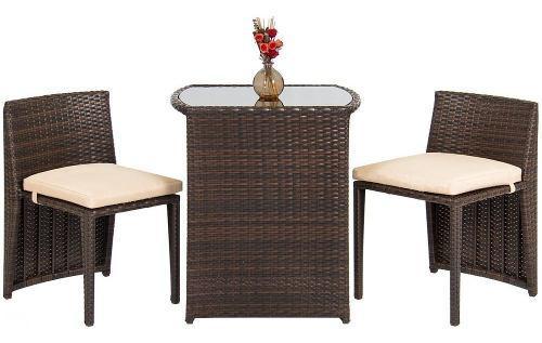 Set patio & jardín sillas de bistro y mesa mimbre marrón