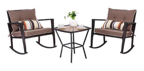 Sillas con mesa para exterior,costway, mecedoras de mimbre