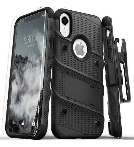 Funda iphone xr zizo bolt clip + cristal uso rudo original!!