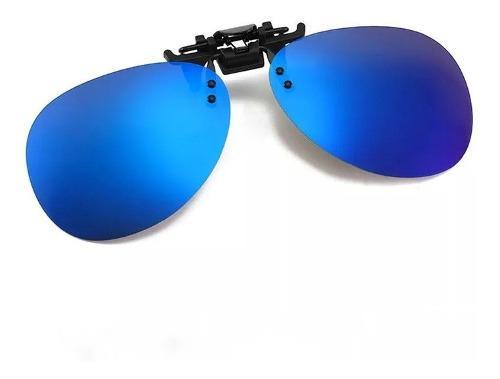 Mica Clip-on Polarizada Azul Tipo Piloto Sobrepuesto +funda