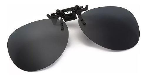 Mica Clip-on Polarizada Negras Tipo Piloto Sobrepuesto+funda