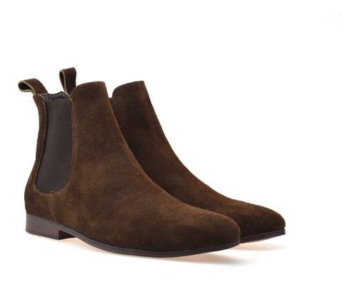 Botín chelsea boots piel gamuza chocolate andre bocassi