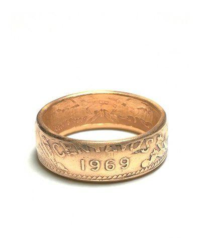 Anillo de bronce moneda 20 centavos en numero 8 a 12