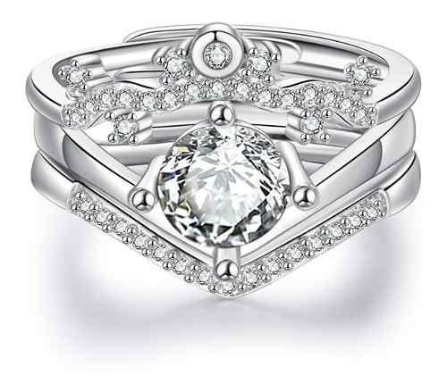 Set anillo plata compromiso pareja corazón regalo amor