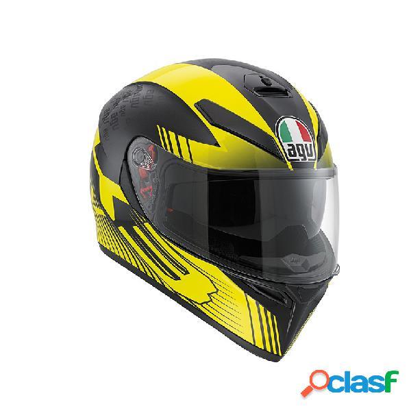 Casco agv k-3 sv modelo glimpse para moto color negro metal / amarillo