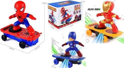 Ironman spiderman capitán américa patineta gira
