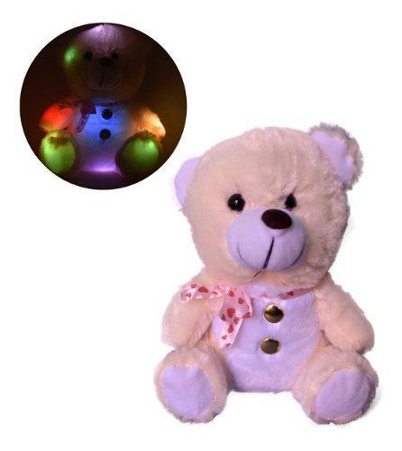 Peluche oso blanco botones luz prende 14 febrero valentin