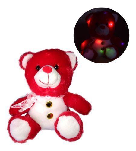 Peluche oso rojo botones luz prende 14 febrero valentin