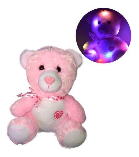 Peluche oso rosa corazon luz prende 14 febrero valentin