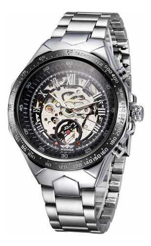 Reloj pulsera winner automático con dial grande, negro