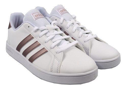 Tenis adidas mujer blanco rosa brillante grand court ef0101