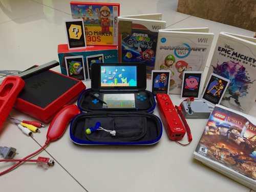 Kit gamer nintendo new 2ds con wii rojo y muchos juegos
