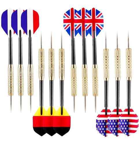 Set 12 dardos punta de metal banderas 17gr.
