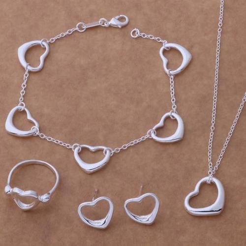 Anillo collar pulsera aretes de corazon para mujer plata ley