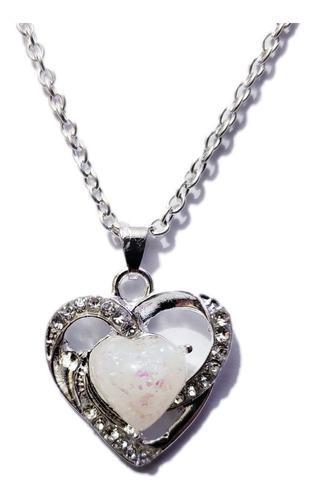 Collar corazon plateado opalo sintetico bisuteria mayoreo