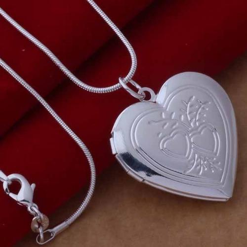 Collar para mujer corazon plata ley.925 alegria del amor