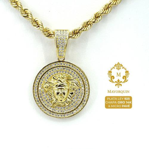 Plata micro pavé | medalla versace iced out chapa oro