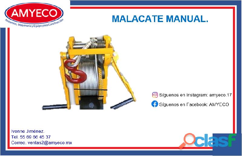 Malacate manual de 500kg de capacidad.