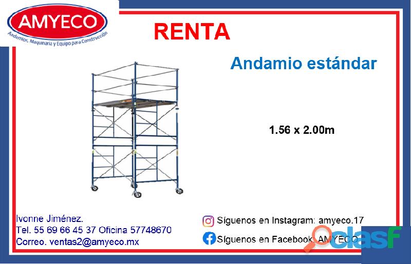 Renta de andamio estándar 1.56 x 2.00 mts
